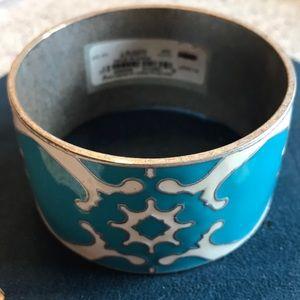 NWT Lucky Brand silver and enamel bangle bracelet